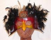 "Leather Masks for Halloween Mardi Gras Comedia Del Arte Masquerade OOAK ""BIRD BRAIN"" Handmade by Debbie Leather"