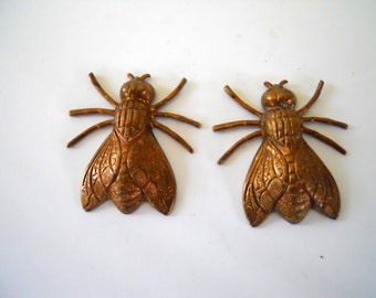 Pair Vintage Brass Fly Bug Stampings