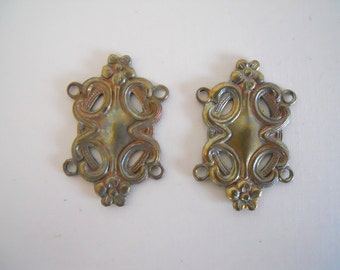Vintage Brass Square Filigree Connector Findings