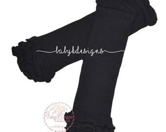 Black Leg Warmers. Newborn Baby Girl Ruffle Legwarmers Football Cheerleader | Halloween Costume | Soccer | Dress Up | Photo Prop | Birthday