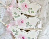 Rose Sleds, 3pc Set, Cottage Roses, Hand Painted, Hand Cut Wood, Glittered Christmas Tree Ornaments, ECS
