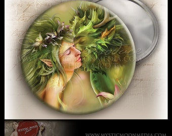 Last Kiss..POCKET MIRROR or Magnet...Greenman and Meadow Nymph in Love