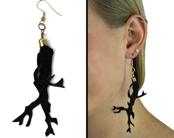 Gold Dusted Black Leather Branch Earrings