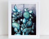 Nightly Prickly Pear Cacti Desert Art Print Watercolor & Archival Print from my Original Illustration Home Decor 8.5x11