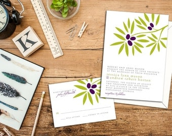 Garden Wedding Invitation Set, Olive Branch Wedding Invite, Wedding response cards, Thank you cards, Save the date, Outdoor Wedding Set
