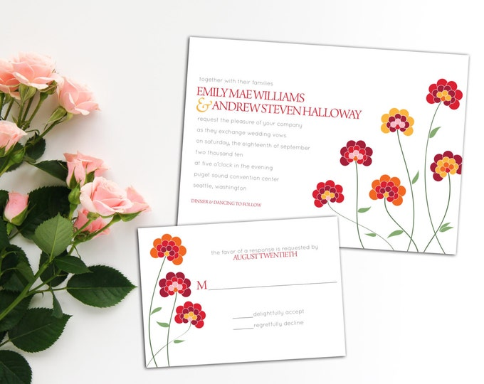 Polka Dot Chrysanthemum Wedding Invitation set, Save the Date, Thank you card, Wedding invitation Set, Colorful Floral Wedding Set, Response
