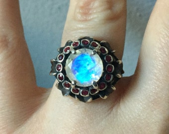 Rubies and Rainbow Moonstone In Sterling- Sunflower Ring