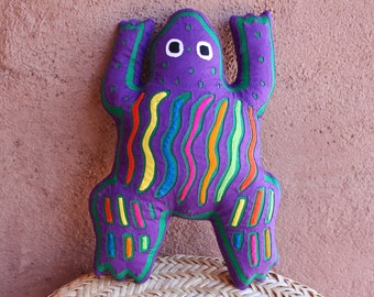 Super-Colorful Fabulous Purple Mola Frog Pillow - Whimsical, Hand Sewn Kuna Indian Reverse Applique