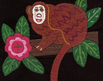 White-Faced Monkey Mola/Molita - ADORABLE Hand Stitched Kuna Indian Fabric Applique