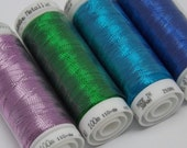 Pack of 4 Mettler Metallic Thread Quilting Embroidery Thread Painting Turquoise Sapphire Lime Purple