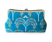 Blue clutch purse, Aqua clutch, Bird purse, Blue fabric clutch purse, Handmade clutch, Blue handbag, Metal frame purse, Unique handbag