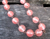 Cherry Bomb Necklace - semiprecious cherry quartz beads on copper necklace - Free Shipping to USA