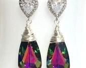 Swarovski Crystallized Teardrop Earrings Vitrail Medium Crystal Bridesmaid Gift Bridal Jewelry Purple Teal Silver Long CZ Cubic Zirconia