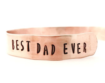 Personalized Mens Bracelet, Best Dad Ever Gift for him Copper Cuff Bracelet, Fathers Day present for husband, hammered mens cuff bracelet
