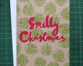Smelly Christmas - Illustrated Greeting Card - Brussels Sprout Christmas Card