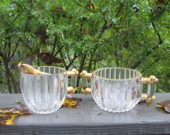 Vintage Jeannette Glass Creamer and Sugar Bowl - Gold Trimmed - Mid Century