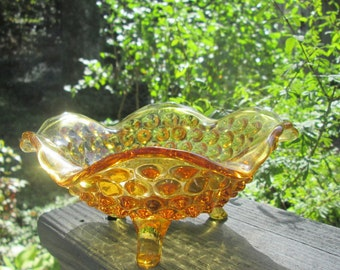 Vintage Gold/ Amber Glass Candy Dish - Footed Ruffled Hobnail Bowl - Christmas