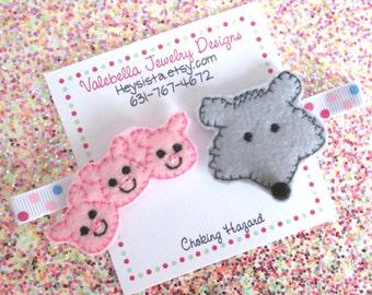 Hairclips The 3 Three Little Pigs and the BIG Bad Wolf no slip hairclip set of 2 polka dot storybook pink piggy clips gray