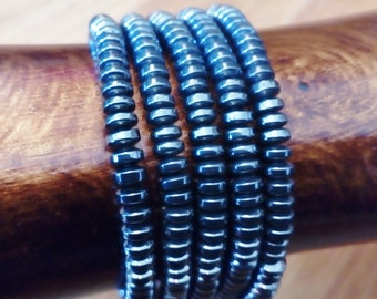 Gunmetal Bracelet Multi-Strand  Metallic Discs Handmade