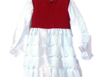 Dress Red Velveteen Lace  Child Size 7