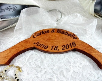 Engraved Wedding Hanger Handmade - Personalized Bride Hangers - Wedding Photo Props - No Wire Hangers - Name Hangers - Made in U S - Hangers