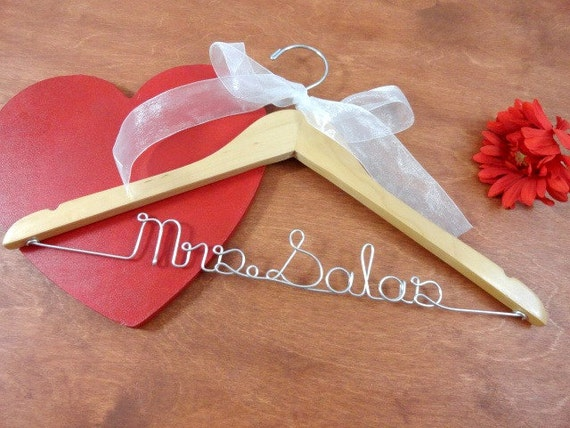 Items similar to wedding name hanger bridal hangers bride for Wedding dress hangers with name