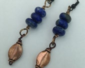 Truth: Lapis Lazuli and Copper dangle earrings.