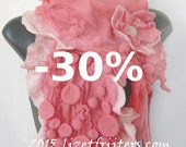 JANUARY SALE Pink Wavy Ruffled Nuno Felted Shibori Scarf Shawl with Bubbles - Eco Fashion - Fibre Art - Statement Scarf