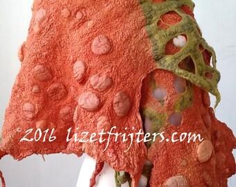 Green and Orange Nuno Felt Shawl Wrap Spring and Summer Shawl - Art to Wear - Nuno Felted Accessory