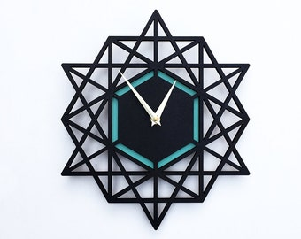 Modern Wall clock, geometric clock, 12 x 13 inches, black and aqua, Sacred Geometry