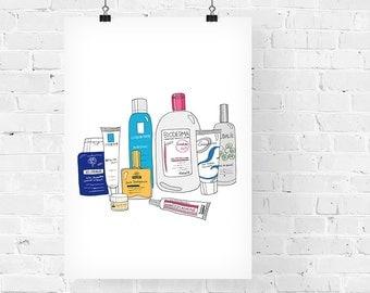 French Pharmacy Decorative Illustration Art Print