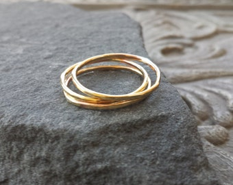 Set of Hammered Stacking Brass Rings , Stacking ring, Brass Band, Bohemian Minimalist, set of 3 rings