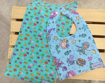 Bib and Burp Cloth Set / Baby Girl Gift Set / Bibs & Burp Rags / Mermaid Bibs