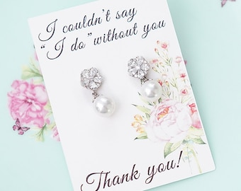 Mother of the Bride Gift / Mother of the Groom Gift / Gift From Bride / Bridesmaid Thank You Card Bridesmaid Earrings Gift