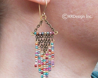 Metallic-Rainbow-Gold-Beaded-Chandelier-Earrings / Free US Shipping