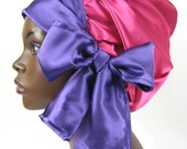 Sweet Sleep Satin Slumber Bonnet in Pink Fuchsia & Purple