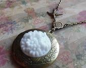 Sale- Enchanted, Vintage Japanese Glass Locket Necklace