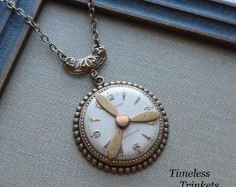 Steampunk Clearance Sale- Amelia, Steampunk Necklace with Propeller and Vintage Watch Face