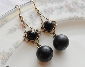 Vienna, Antique Glass Button Earrings