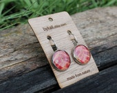 medium autumn red and orange sumac clasp earrings