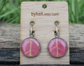 medium autumn pink maple leaf clasp earrings