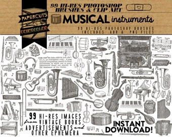 Musical Instruments - 99 Hi-Res Photoshop Brushes / Clip Art / Image Pack - Includes .ABR and .PNG Files