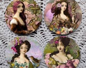 Curiously Captivating -- Odd Psychedelic Art Girls Mousepad Coaster Set