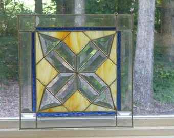 Geometric Stained Glass with Orange/Yellow/Blue -Made in USA by Me!