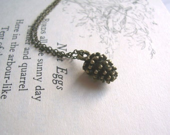Petite Pine Cone charm necklace - small woodland charm in brass - tiny pinecone woodland jewellery