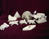 Inuit/Eskimo Family Play Set, Unfinished Pine