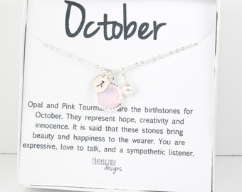 October Birthstone Silver Necklace, Pink Opal Necklace, October Birthday Jewelry, Personalized Silver Necklace, October Birthday Gift #869