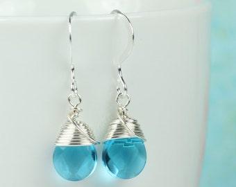 Bright Blue and Silver Earrings, Blue Earrings, Sterling Silver Earrings