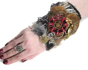 Steampunk Cuff INDUSTRIAL Cuff Brown LEATHER Feathers MeSH HEaRt ViCtorian Love Birds Spigot Punk Gears - Steampunk Clothing by edmdesigns