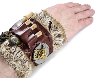 Steampunk Textile Cuff Mens Leather Wrist Cuff VIALS Watch APOTHECARY Gears Rocker Post Apocalyptic Cuff - Steampunk Clothing by edmdesigns